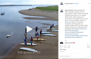 This Instagram post by UNE president James D. Herbert featuring a video of him joining a paddle boarding class on campus at Freddy Beach was a hit, generating about 60 likes