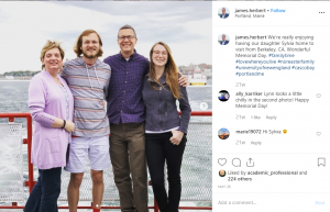 UNE president James D. Herbert is comfortable sharing about his family life on social media