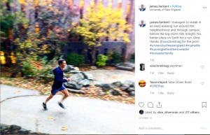 University of New England president Instagram post